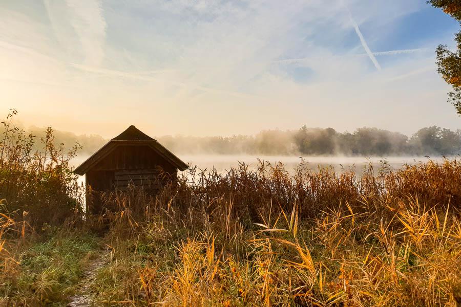 Morgendlicher Herbstnebel am Wesslinger See